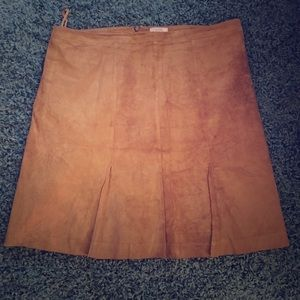 Suede camel knee length skirt